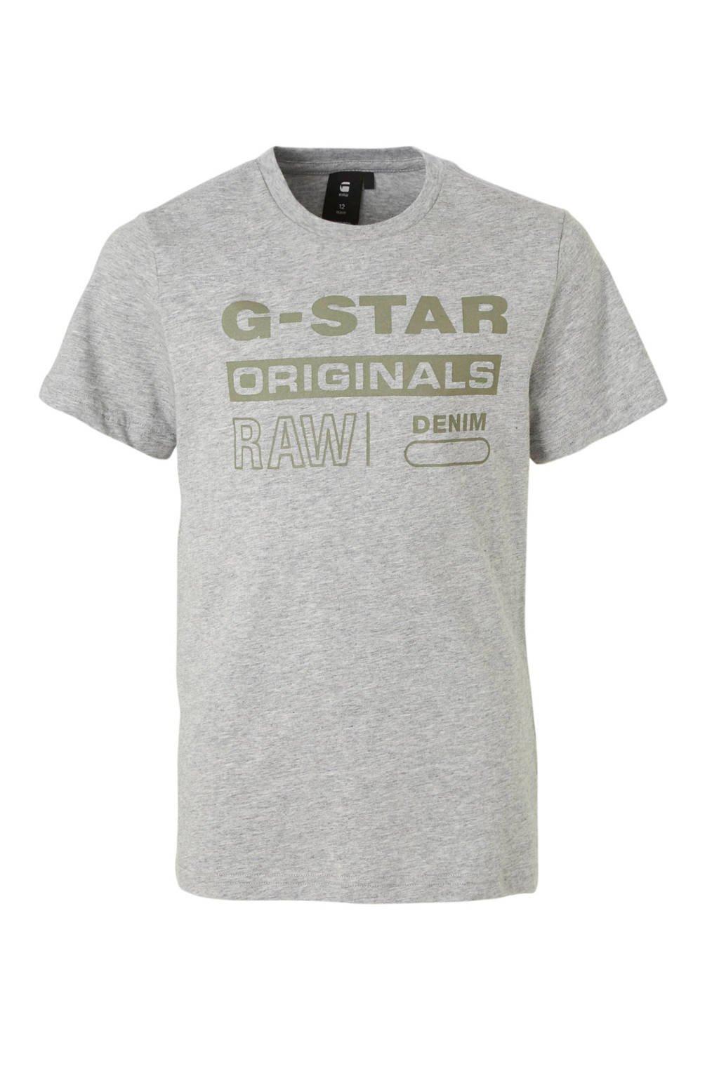 G-Star RAW T-shirt met logo grijs melange, Grijs melange