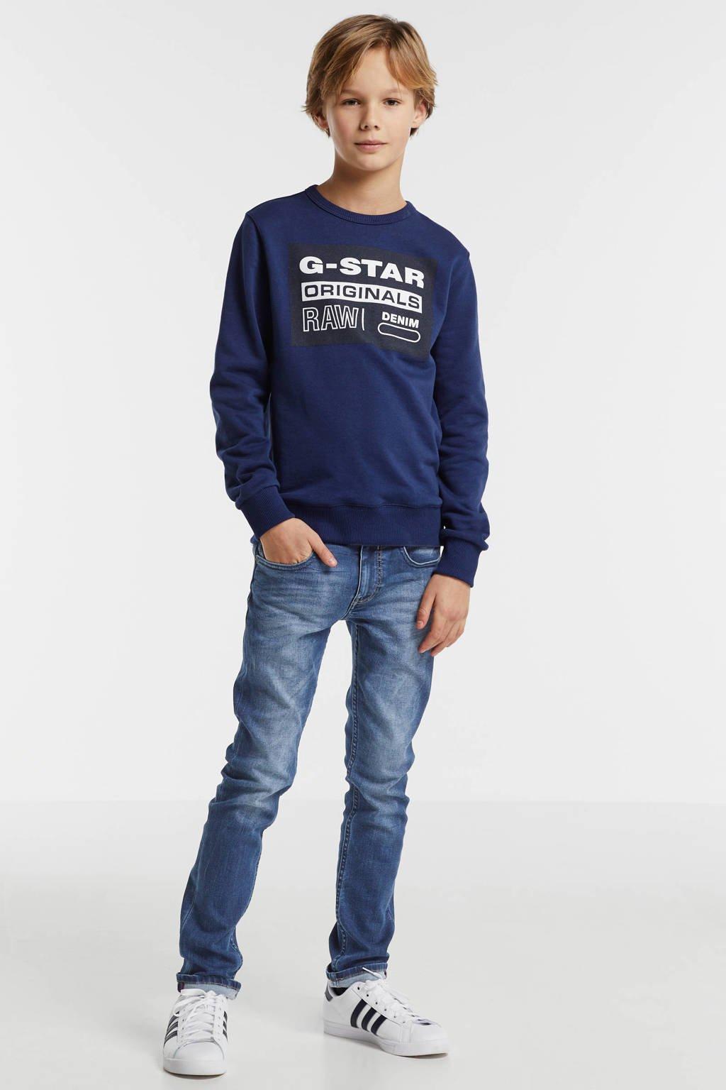 G-Star RAW sweater Hodin met logo donkerblauw/wit/zwart, Donkerblauw/wit/zwart