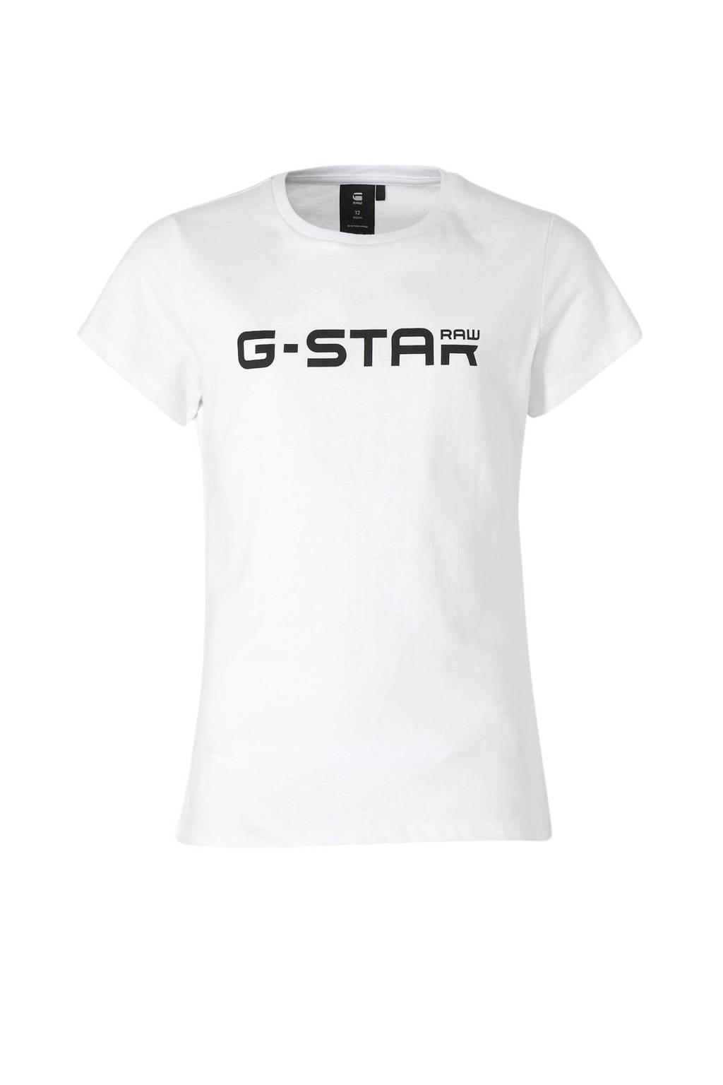 G-Star RAW T-shirt met logo wit/zwart, Wit/zwart