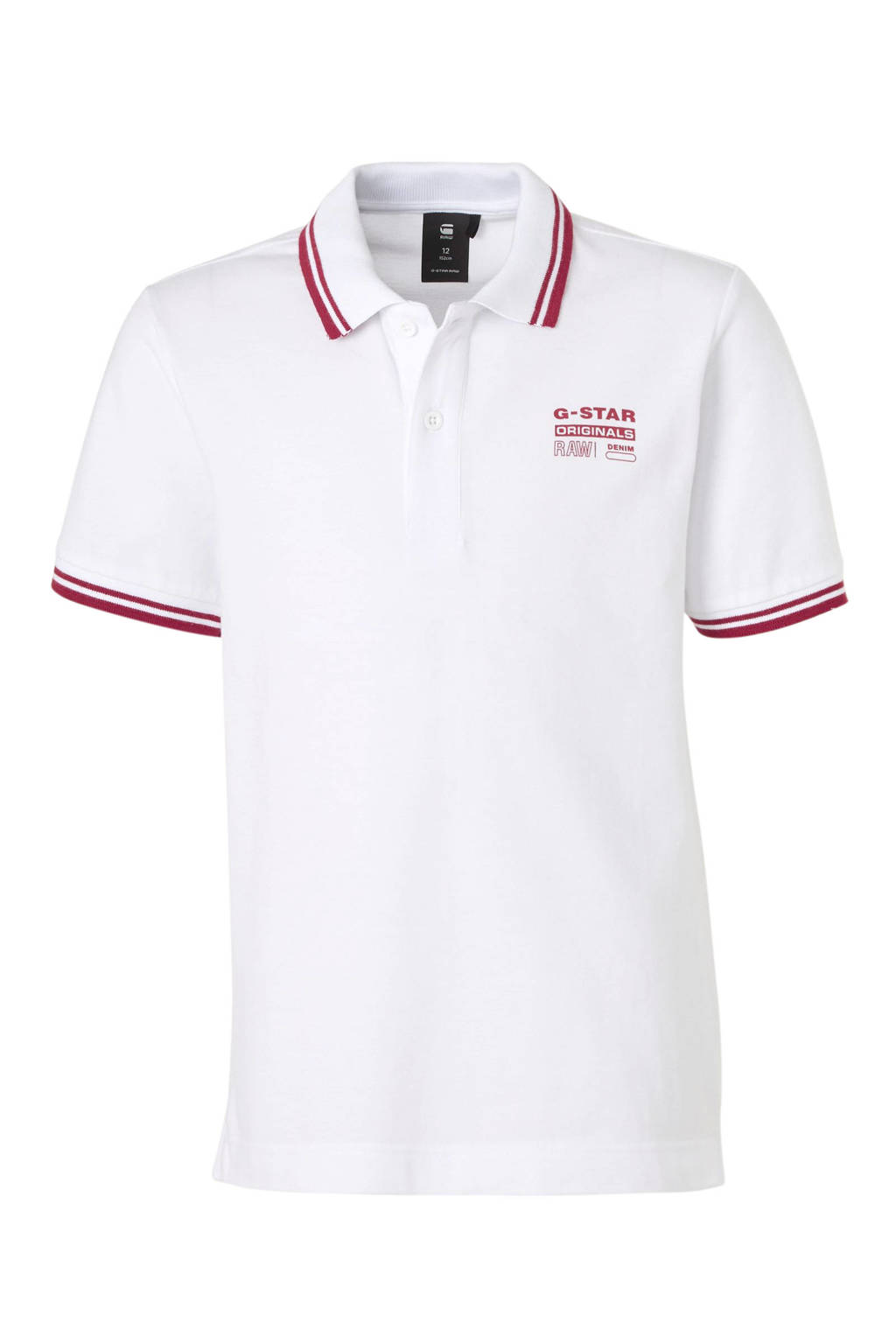 G-Star RAW polo Dunda met logo wit/rood, Wit/rood