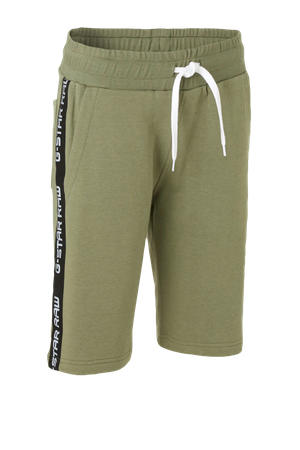 short met zijstreep kaki groen/zwart/wit