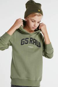 G-Star RAW hoodie met logo kaki, Kaki