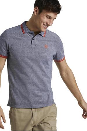 gemêleerde regular fit polo grijsblauw/rood