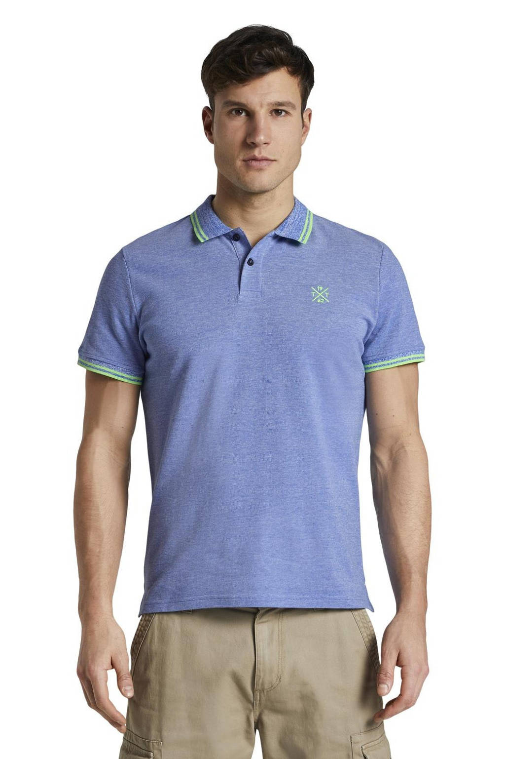 Tom Tailor gemêleerde regular fit polo blauw/groen, Blauw/groen