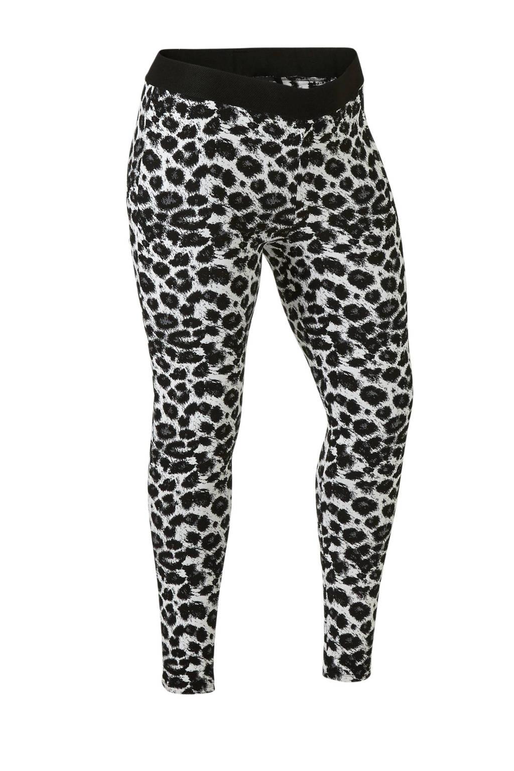 anytime Plus size legging in panter dessin zwart/ecru, Zwart/ecru/grijs