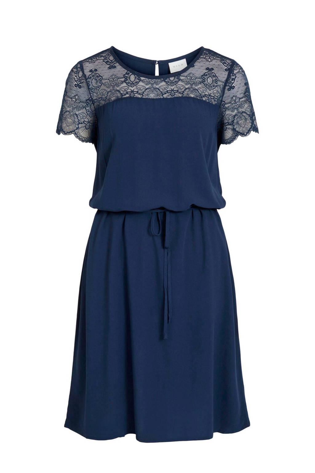 VILA jurk en kant donkerblauw, Donkerblauw