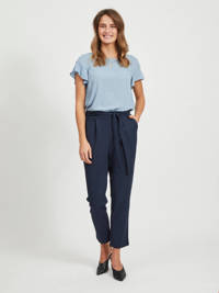 VILA tapered fit broek donkerblauw, Donkerblauw