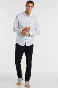 Cast Iron regular fit overhemd met bladprint wit, Wit