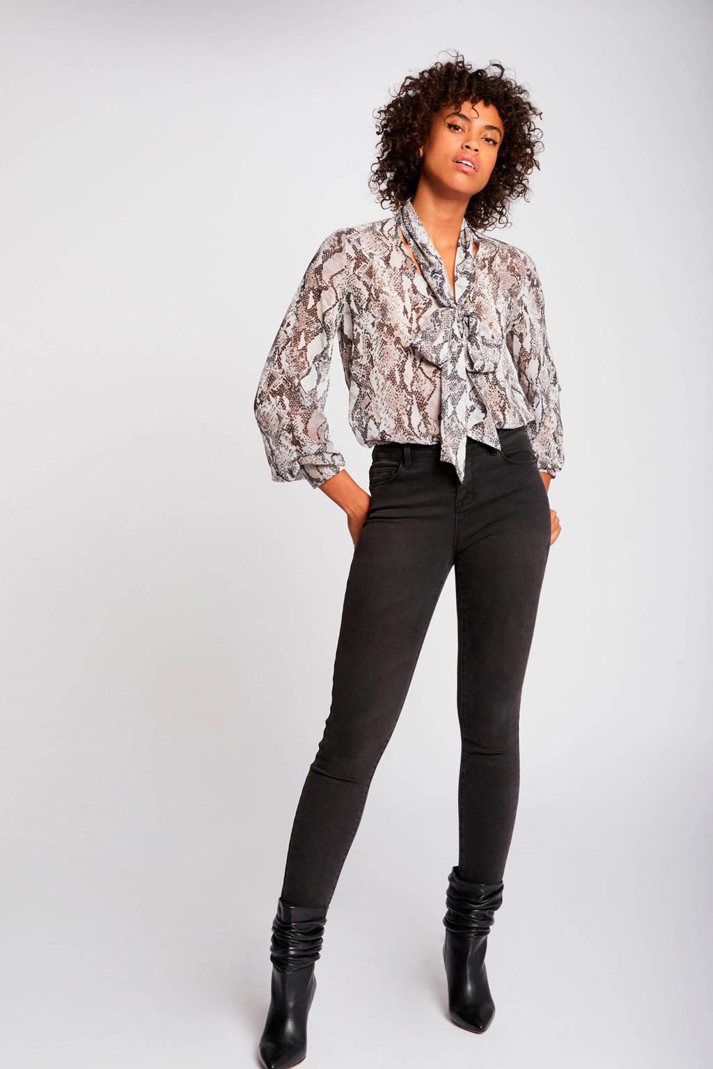 Morgan blouse met slangenprint, Ecru
