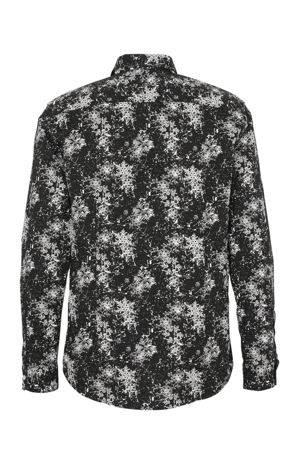 Tom Tailor slim fit overhemd met all over print zwart, Zwart