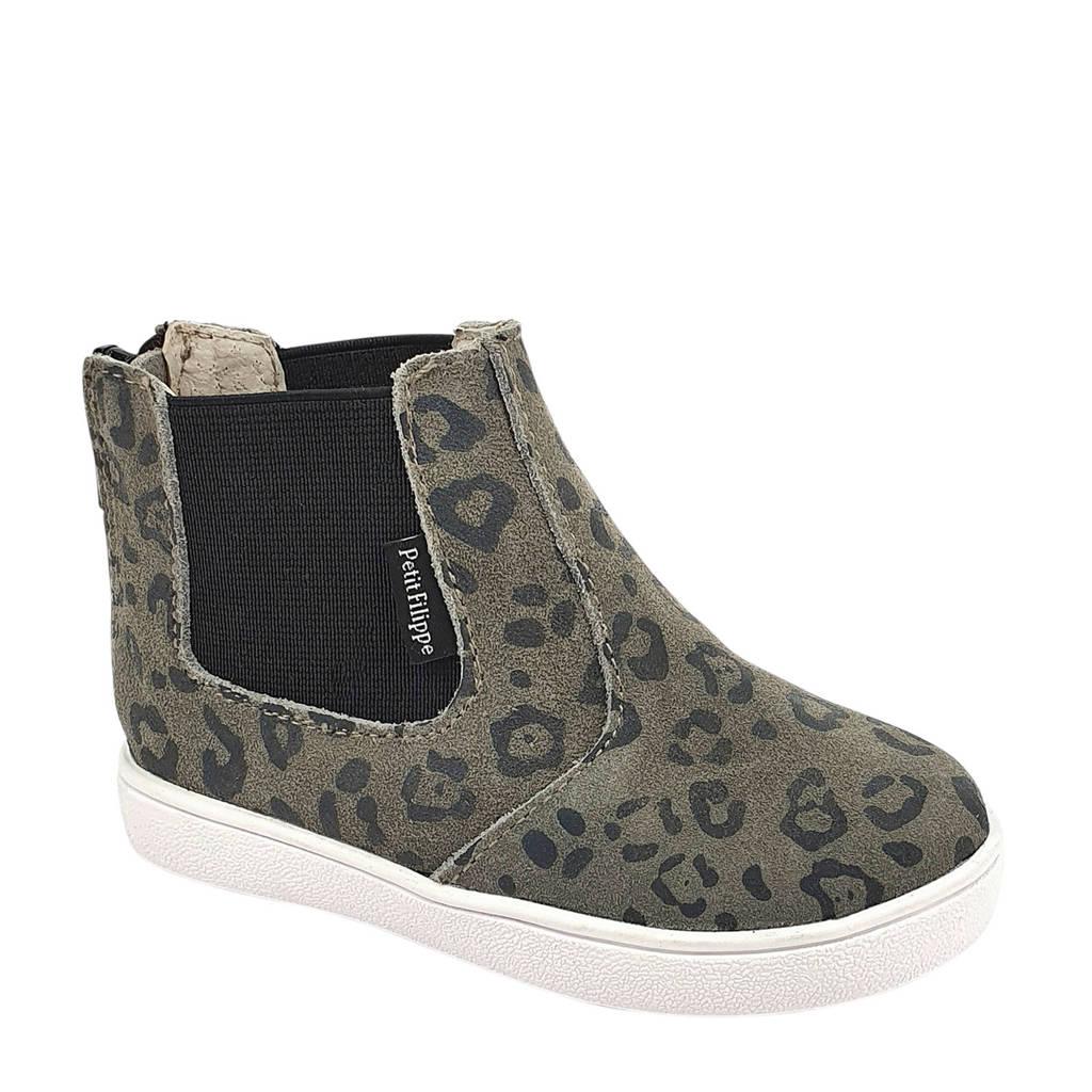 Petit Filippe   suède chelsea boots panterprint, Grijs/zwart