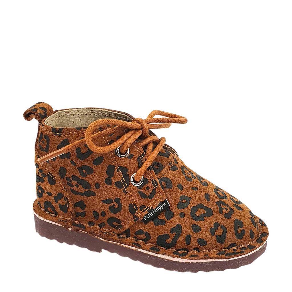 Petit Filippe   suède desert boots panterprint, Cognac/Caramel