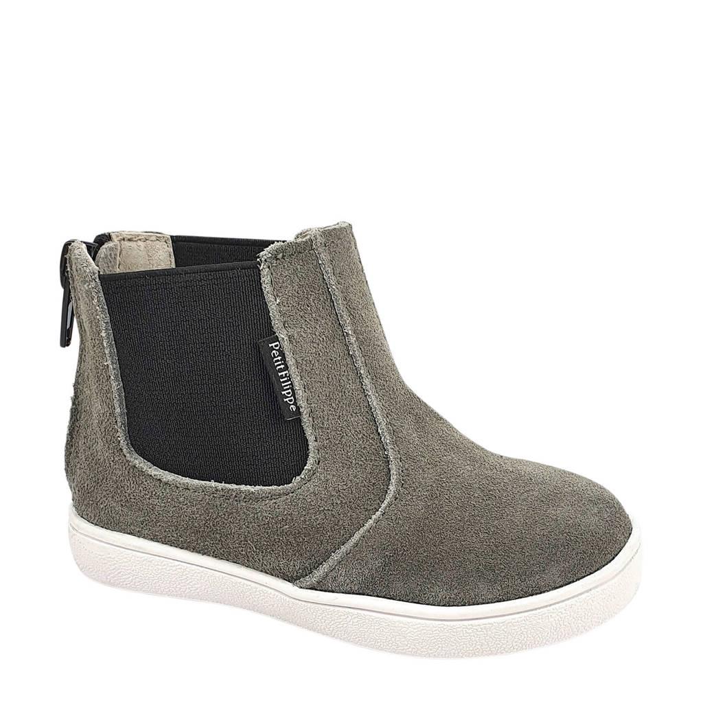 Petit Filippe   suède chelsea boots grijs, Grijs/zwart