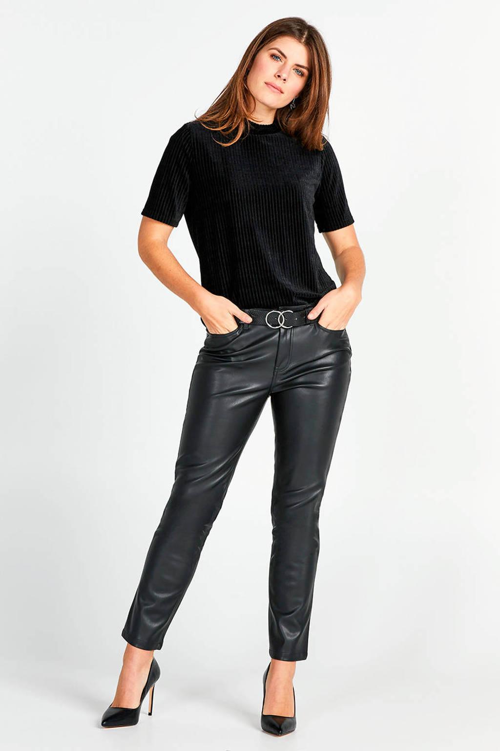 Miss Etam Regulier ribgebreide fluwelen top zwart, Zwart