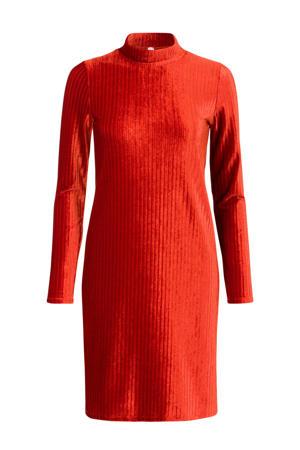 Regulier fluwelen jersey jurk rood