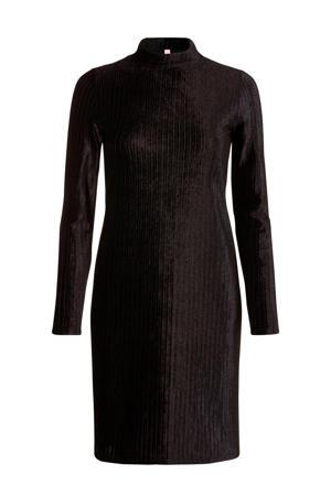 Regulier fluwelen jersey jurk zwart