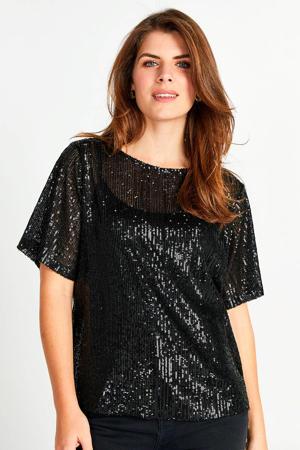 semi-transparant T-shirt met pailletten zwart