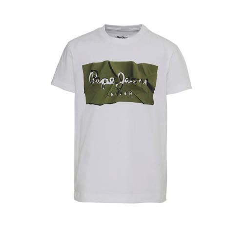 Pepe Jeans T-shirt met logo wit/groen