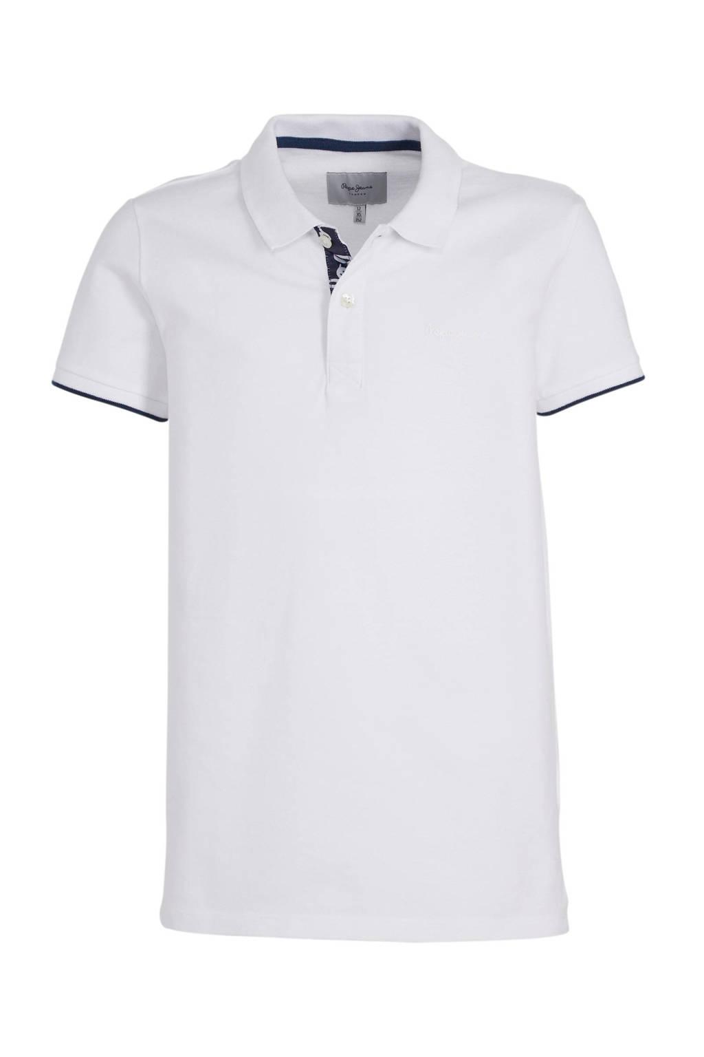 Pepe Jeans polo Thor JR met logo en borduursels wit, Wit