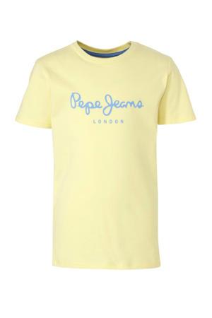 T-shirt met logo lichtgeel