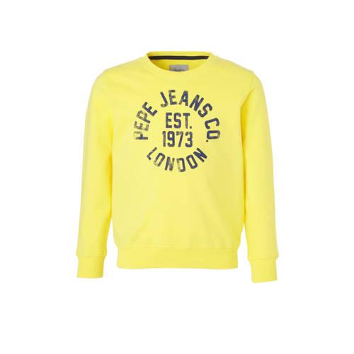Pepe Jeans sweater met logo geel/donkerblauw