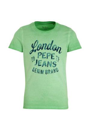 T-shirt Adan met logo groen