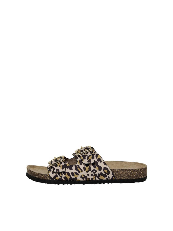 ONLY   slippers panterprint, Bruin/zwart