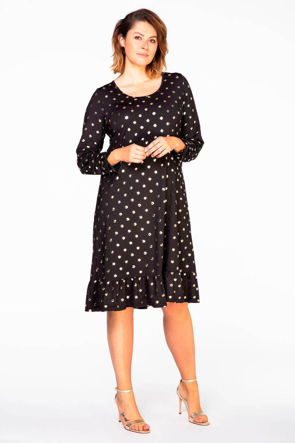 Yoek jurk met stippen zwart/ goud, Zwart/goud