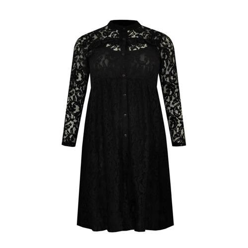 Yoek kanten blousejurk met kant zwart