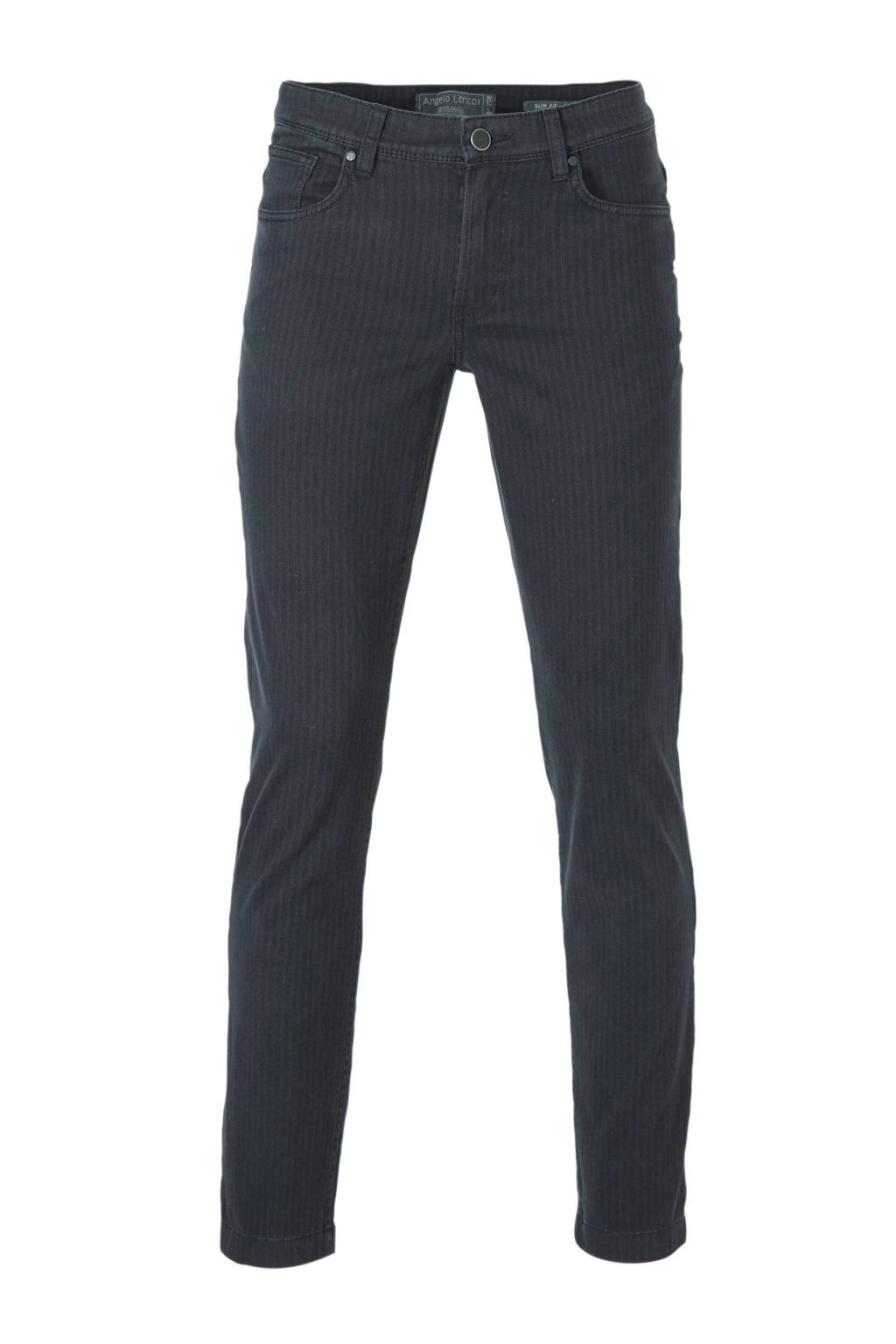 C&A Angelo Litrico gestreepte slim fit broek donkerblauw, Donkerblauw