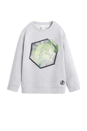 sweater met printopdruk grijs melange/groen