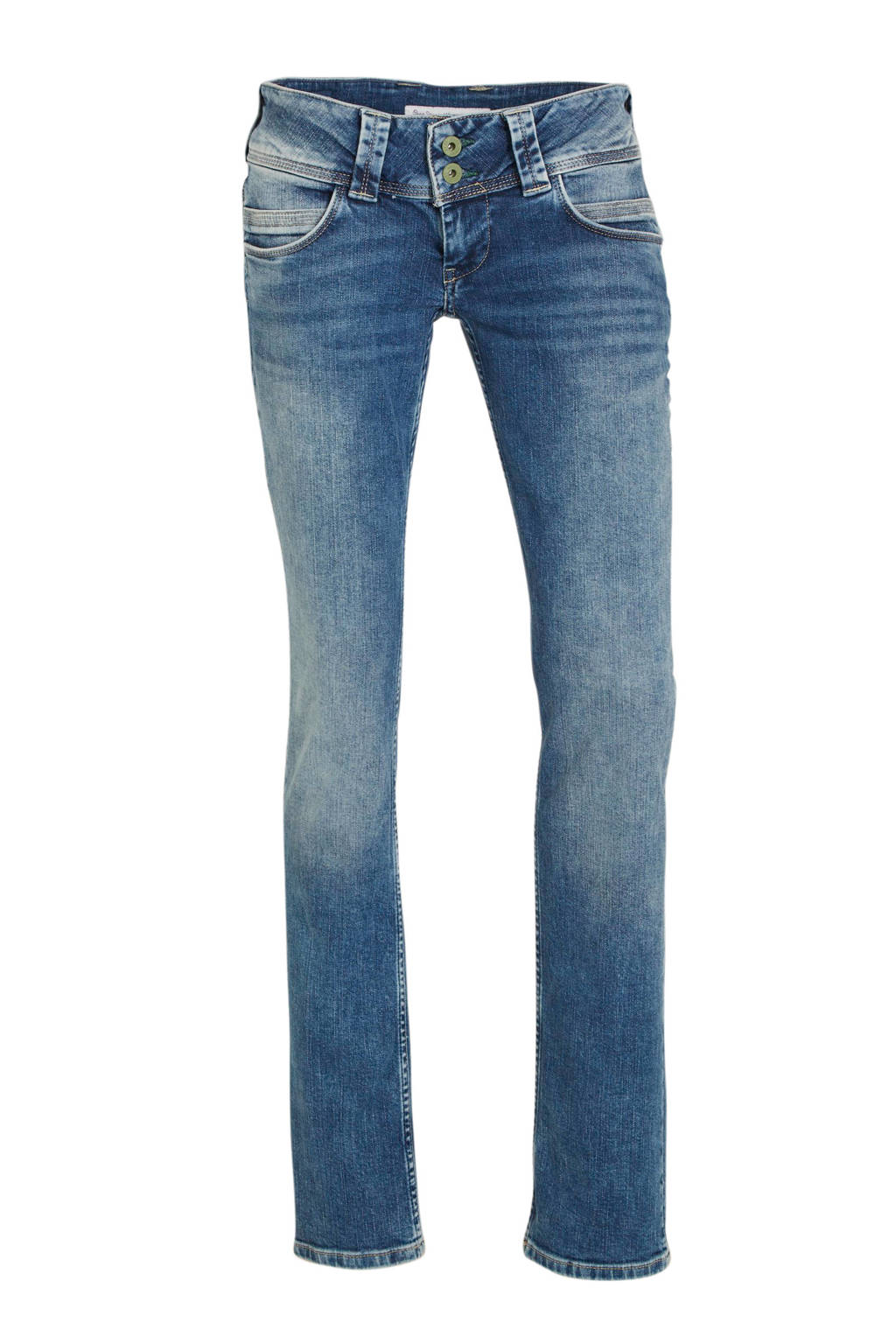 Pepe Jeans low waist straight fit jeans Venus blauw, Blauw