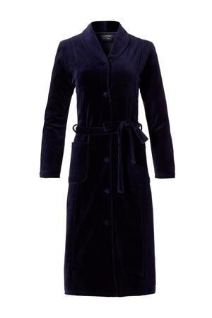 velours badjas met knoopsluiting donkerblauw