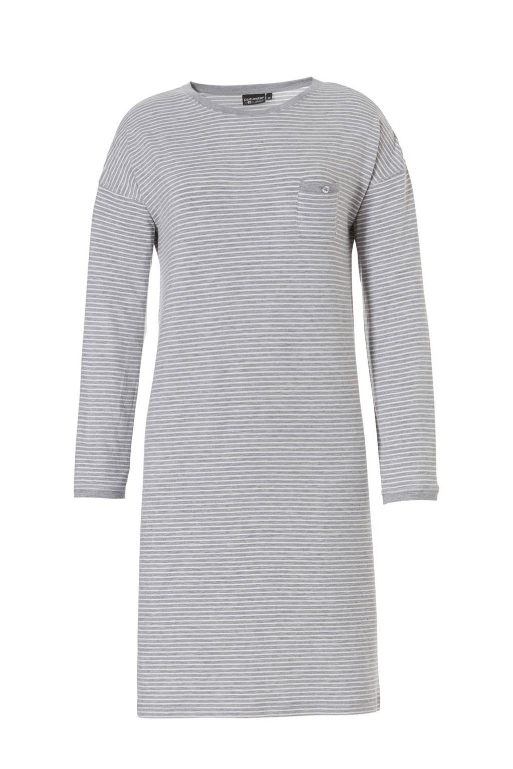 Pastunette Deluxe gestreept nachthemd grijs, Grijs
