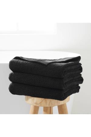 badlaken hotelkwaliteit (set van 3) (70 x 140 cm) Zwart