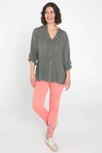 Cassis blouse met sierstenen grijsgroen, Grijsgroen