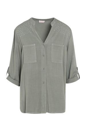 blouse met sierstenen grijsgroen