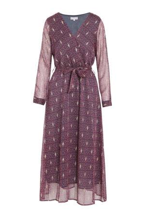 maxi jurk met all over print en ceintuur marineblauw/rood