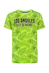 WE Fashion T-shirt met all over print geel, Groen/zwart