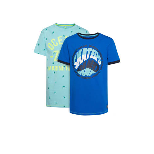 WE Fashion T-shirt - set van 2 lichtblauw/donkerbl