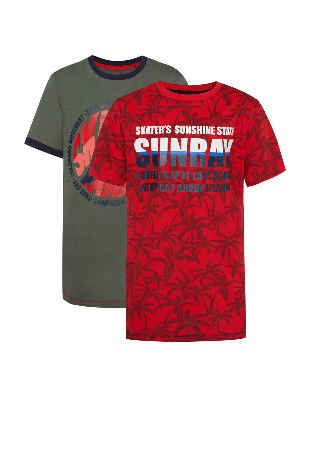 WE Fashion T-shirt - set van 2 rood/groen, Rood/groen