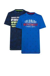 WE Fashion T-shirt - set van 2 blauw, Blauw