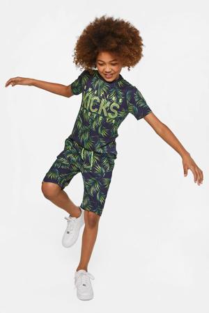 regular fit T-shirt met bladprint multi