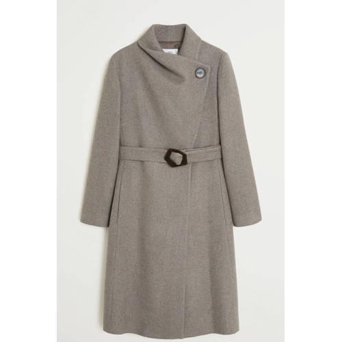 Mango coat met wol lichtbruin