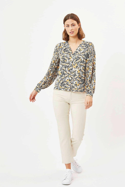Minimum gebloemde blouse minusa geel/multi, Geel/multi