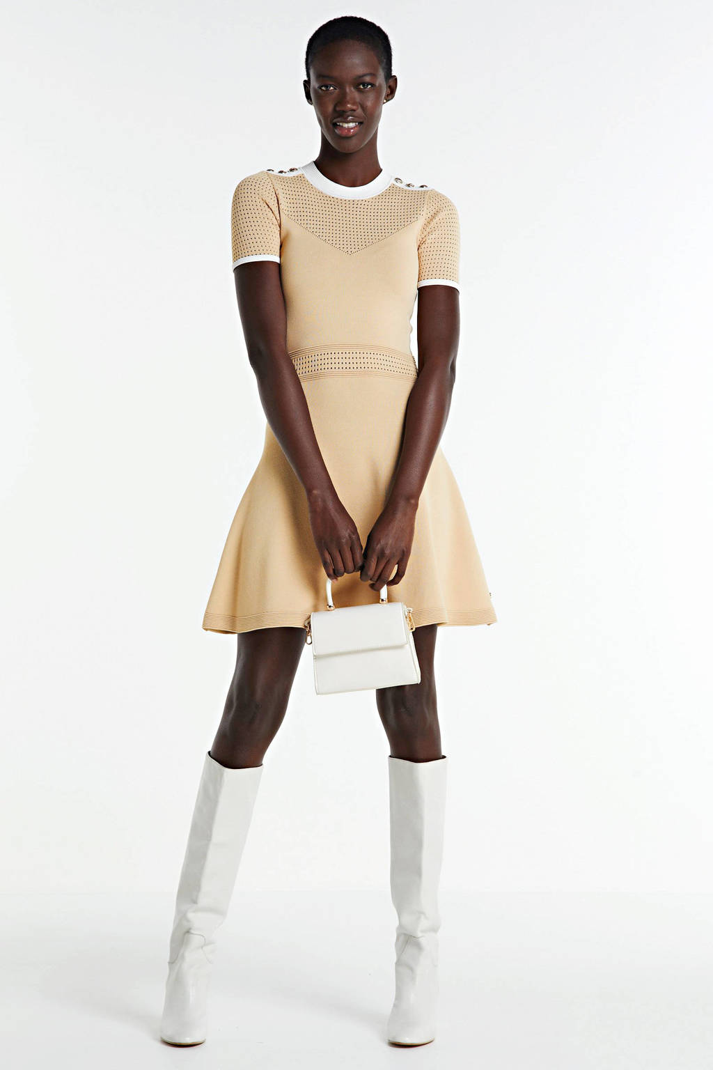 JOSH V jersey jurk REGINE met textuur beige, Beige