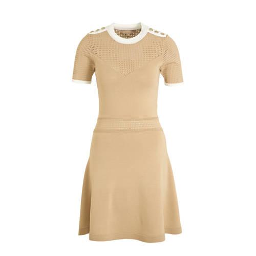 JOSH V jersey jurk REGINE met textuur beige