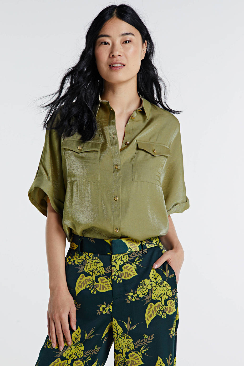 JOSH V blouse CARYANN groen, Kakigroen