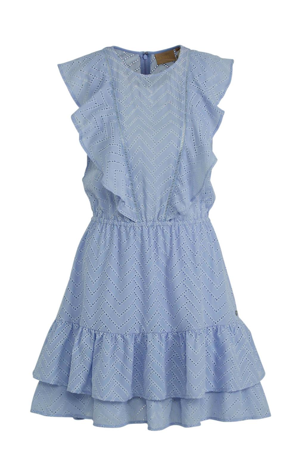 JOSH V jurk RAYA met ruches lichtblauw, Lichtblauw