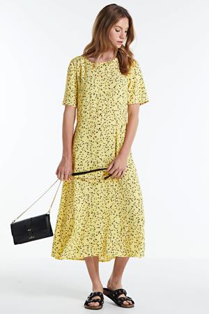gebloemde jurk Jillian  lichtgeel/ zwart